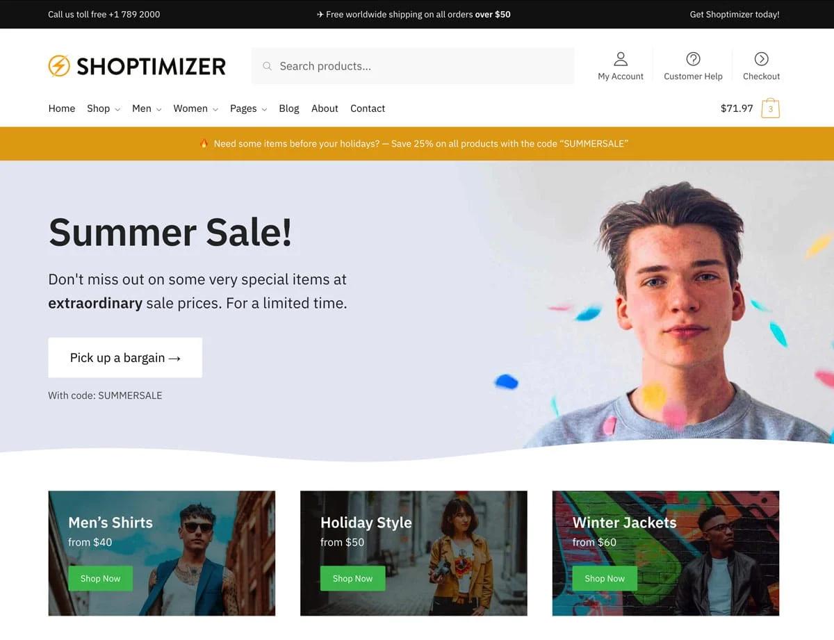 Wordpress ecommerce themes shoptimizer