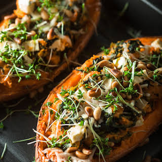 Stuffed Sweet Potato with spinach and feta.