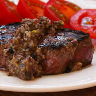 Pan-Grilled Steak with Olive Sauce.