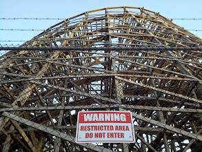 Photo: After dinner at Knott's for a friend's birthday, I found this wonderful shot.  With the barbed wire, the warning, and the mess of wood planks, it all looked so ominous.