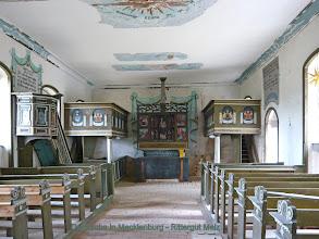 Photo: Dorfkirche in Mecklenburg - Rittergut Melz  Millionen von Holzwürmern sind aktiv