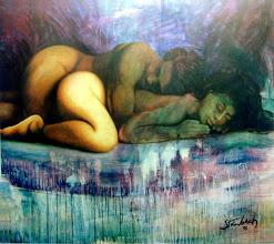 """Photo: """"Hariel e Aladiah - O Repouso"""". Acrílica/duratex, 121,5 x 136,5 cm, 1998, Mossoró, Rio Grande do Norte, Brasil. Coleção particular."""