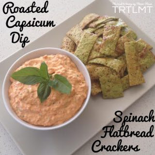 Roasted Capsicum Dip and Spinach Flatbread Crackers.