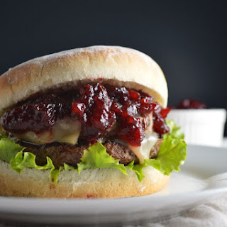 Hamburgers with Gruyere and Cranberry BBQ Sauce