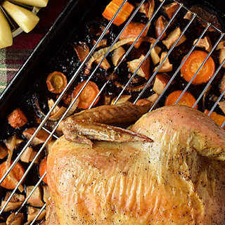 Roast Chicken with Apple-Carrot Mash.