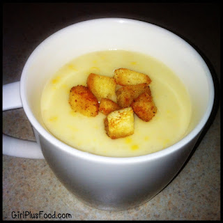 Japanese Corn Cream Soup with Butter Croutons.