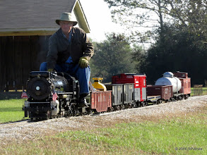 Photo: Doug Blodgett wearing a coat running a steam loco, ideal cool morning.  Low sun lets us see the drivers.   HALS 25th Anniversary Meet 2016-1112 RPWhite