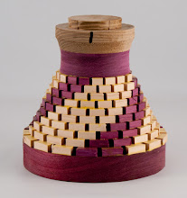 "Photo: Bob Grudberg - 6"" x 5"" open-segmented bowl blank [peach, purple heart]"