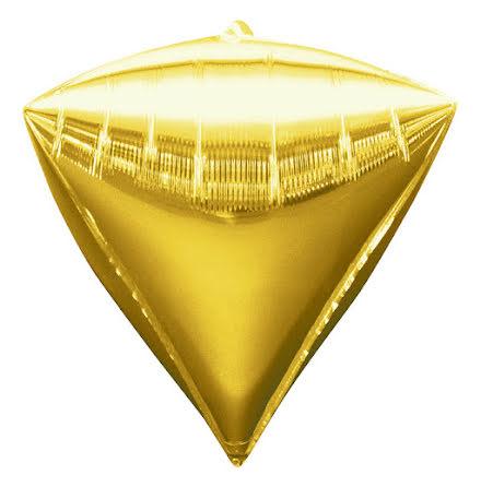Folieballong, diamant guld 38x43 cm