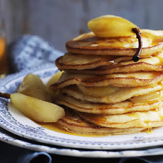 Buttermilk Pancakes with Poached Pears and Pear Syrup.