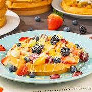 Fruit Waffle with English Cream Sauce
