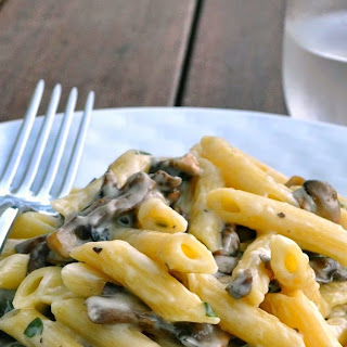 Penne Pasta with Creamy Mushrooms and Taleggio Cheese