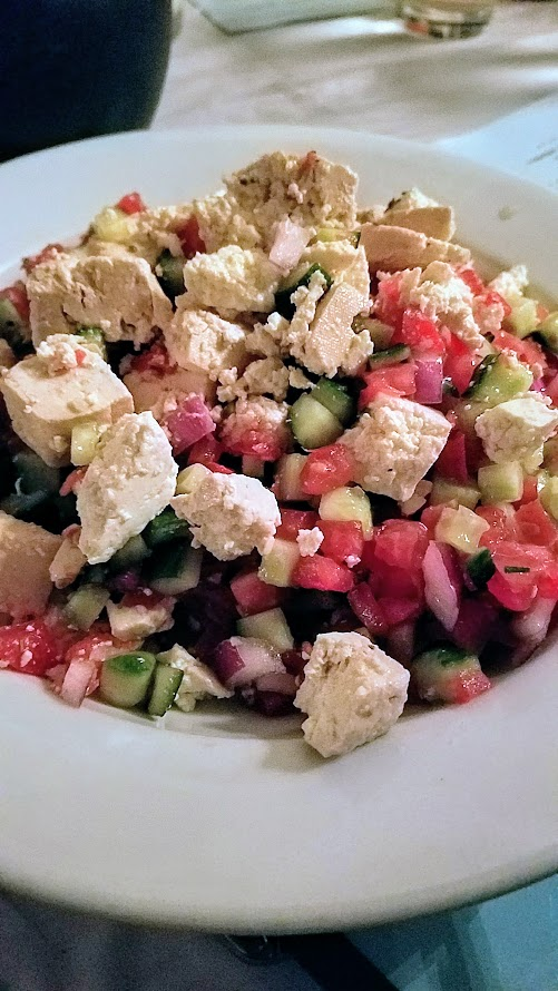 Aviv PDX Pop up course of SHLISHIYT that included this Israeli salad 'Yotvata' style with tomato, cucumber, red onion, non-dairy feta, sumac