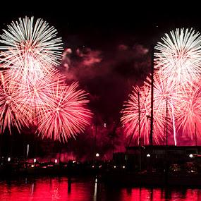 Boom! by Graeme Carlisle - City,  Street & Park  Vistas ( harbour, fireworks )