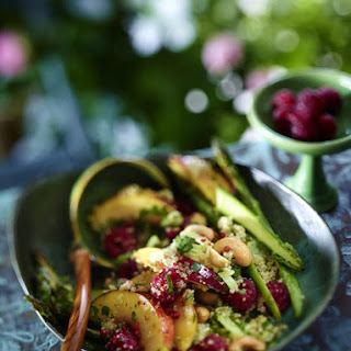 Quinoa Salad with Asparagus and Summer Fruits.