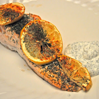 Lemon Salmon with Yogurt Dill Sauce