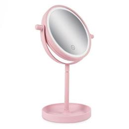 Oglinda cu lumini pentru machiaj, 14 LED, 15 cm, Roz