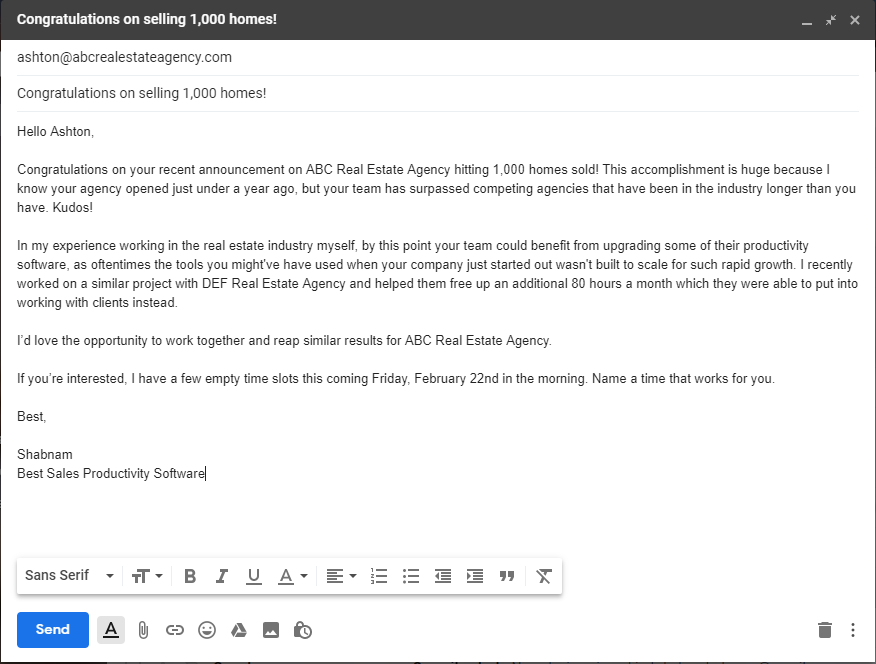 """example of """"congrats on the company announcement!"""" sales prospecting email template."""