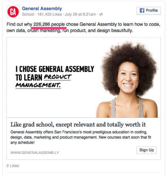 General Assembly, an online tutorial community. Source: HubSpot