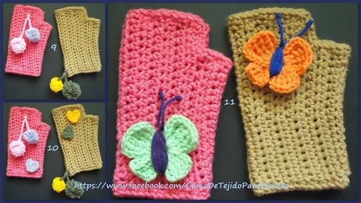 mariposas pompones tejidos al crochet ganchillo para zurdos