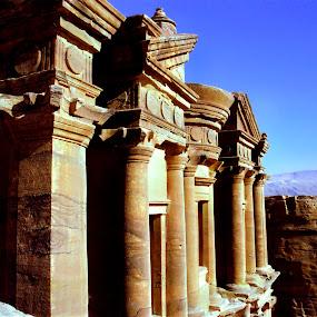 El Deir - The Monastery by Craig Pifer - Buildings & Architecture Architectural Detail ( carved, detail, facade, el deir, jordan, monastery, petra )