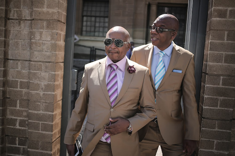 Businessman Kenny Kunene (Left) and Sunday Independent's editor Steve Motale exit the South Gauteng High Court in the Johannesburg CBD. The pair where taken to court by a woman who was connected to Deputy President Cyril Ramaphosa's alleged affair.