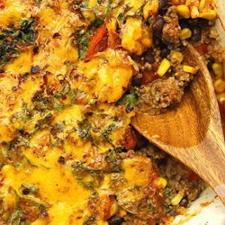 Quinoa and Kale Taco Casserole.
