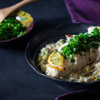 Gremolata Chicken with Leek, Mushroom and Parmesan Risotto