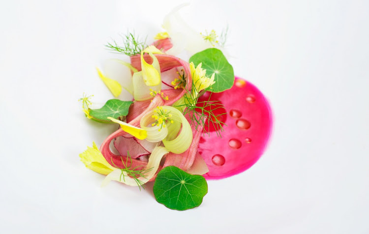 Trout, rhubarb, celery and radish.