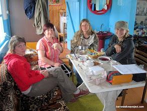 "Photo: Olga, The ""Turkey Lady""...because she had a turkey, Lena, and Liz, enjoying some tea after banding"