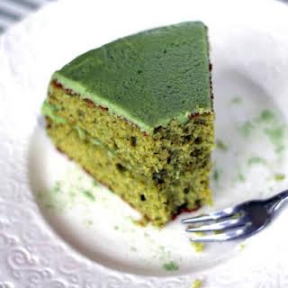 Healthy Matcha Green Tea Cake with Matcha Frosting.