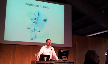 Photo: Boudewijn Rempt , lead dev of Krita and chairman of the Krita Foundation during his presentation talk about the Krita Foundation