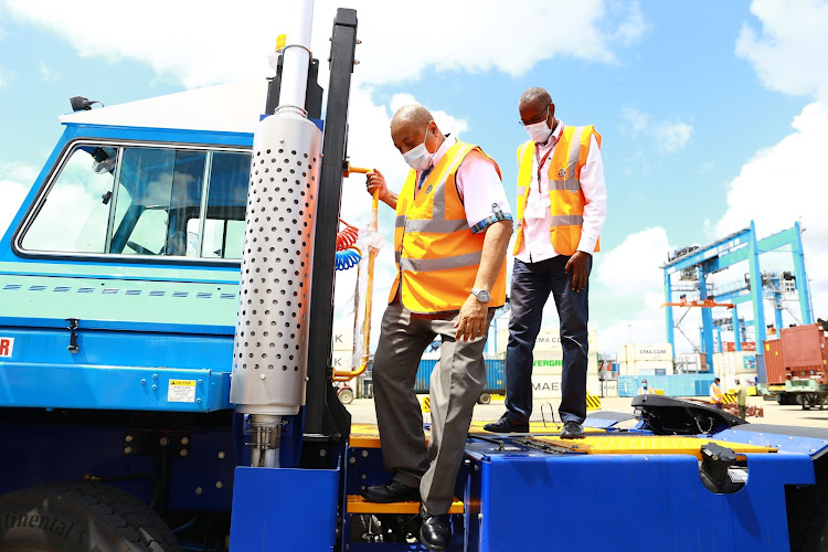 KPA acting MD Rashid Salim commissioning the terminal tractors at the Mombasa port on Tuesday.