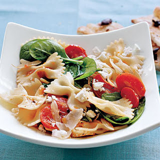 Farfalle with Tomatoes, Onions, and Spinach.