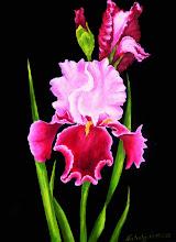 Photo: 420, Нетронина Наталья, Серия Цветочный калейдоскоп -Ирис розовый, Масло, замша (живопись по бархату), 40х30см,