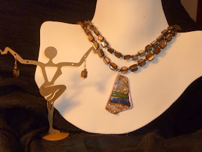 Photo: <BEREHYNYA> {Great Goddess Protectress} unique one-of-a-kind statement jewellery by Luba Bilash ART & ADORNMENT  TWILIGHT – СУМЕРК - copper enamel pendant, Mother of pearl, FW pearls, rose gold vermeil SOLD/ПРОДАНИЙ
