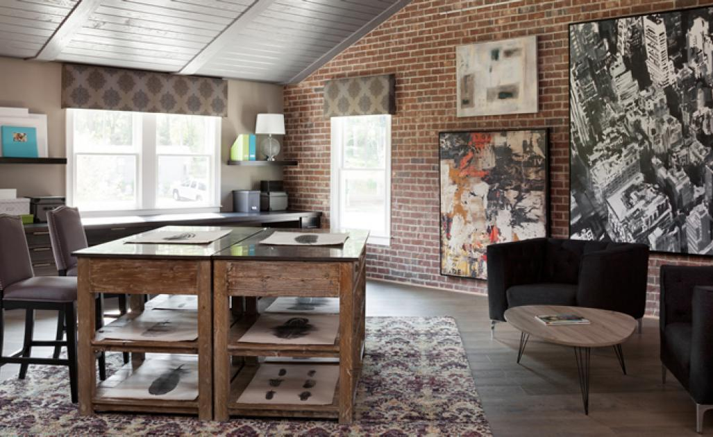 Brick interior accent wall