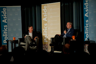 """Photo: Jonathan Weber interviews Eric Schmidt about """"The New Digital Age"""" Thursday, Nov. 15, 2012 at the RAND Politics Aside event in Culver City."""