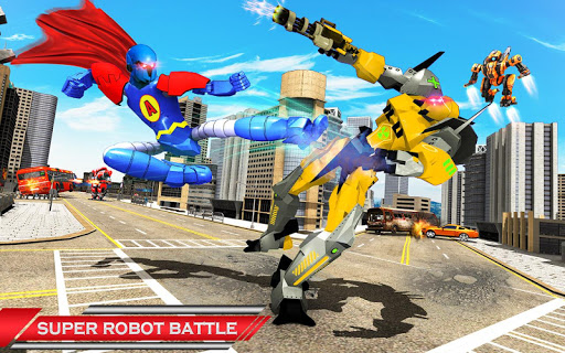 Flying Hero Robot Transform Car: Robot Games modavailable screenshots 6