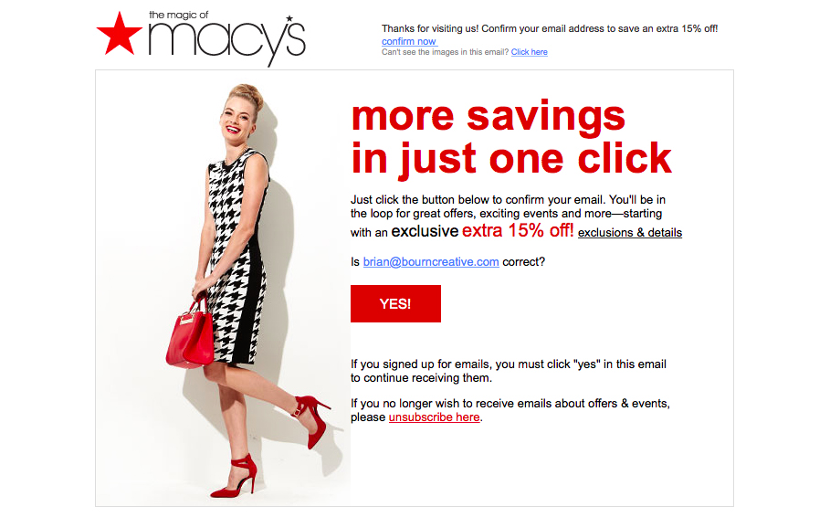 Reengagement campaign example - Macy's