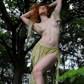 by DJ Cockburn - Nudes & Boudoir Artistic Nude ( skirt, natural light, nude, topless, nature, woman, redhead )