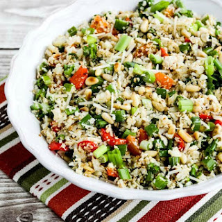 Roasted Cauliflower Rice with Red Pepper, Green Onion, Parmesan, and Pine Nuts Recipe