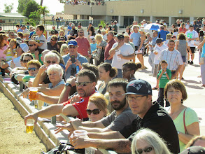 Photo: Fans gather by the rail to take in a full card of live horse racing during the Saint Patricks party at Turf Paradise. Photo by Turf Paradise