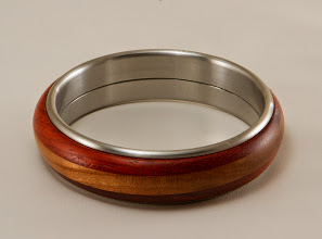 Photo: Mike Colella metal core bangle [cherry, bloodwood]