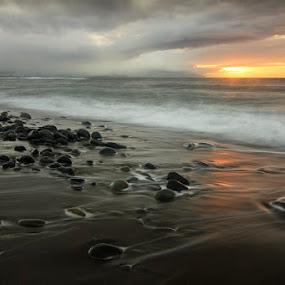 My Black Beach by Nuno Martins - Landscapes Beaches ( beach, sunset, açores, clouds, são miguel, water, black, rocks, sky )
