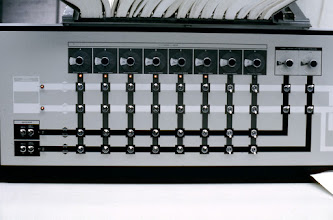 Photo: Left side of the configuration console for the IBM S/360-67 computer at the Computing Center, North University Building, University of Michigan, Ann Arbor, Michigan, USA, c. 1968