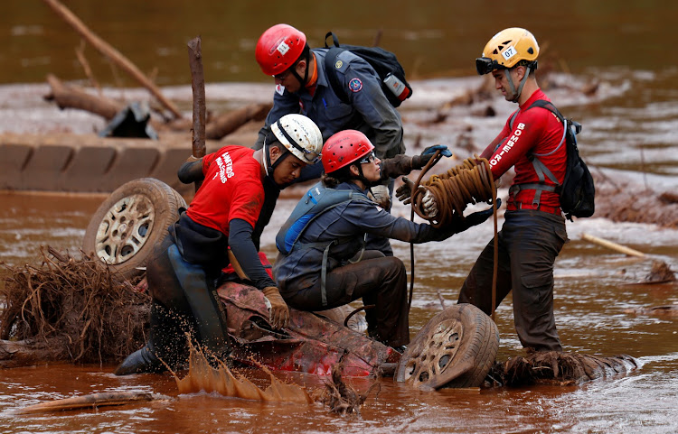 Members of a rescue team search for victims of a collapsed tailings dam owned by Brazilian mining company Vale SA in a vehicle on Paraopeba River, in Brumadinho, Brazil February 5, 2019.