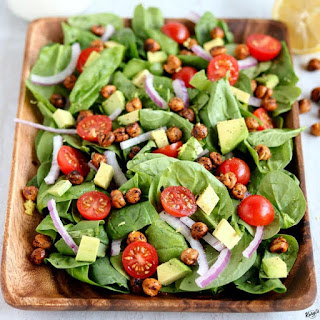 Roasted Chickpea Spinach Salad Recipe
