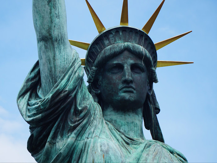 Statue of Liberty (detail of the head), Libery Island, Upper New York Bay, New York