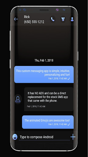 Dark Mode SMS Messenger Theme screenshot 1